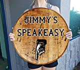 Barrel Head Sign Retro Speakeasy Downstairs Basement Enterance Gift Man Cave Wall Decor Natural Wood Brown 22 inch Wall Decor