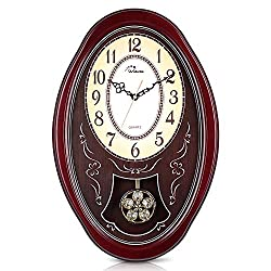 WallarGe Pendulum Wall Clock,Extra Large Westminster Chime Clocks,22 x 14.5 Cherry Tone Wood,Grandfather Wall Clocks,Chiming Every Hour,Vintage Decorative Clocks for Livingroom, Office and Hotel.