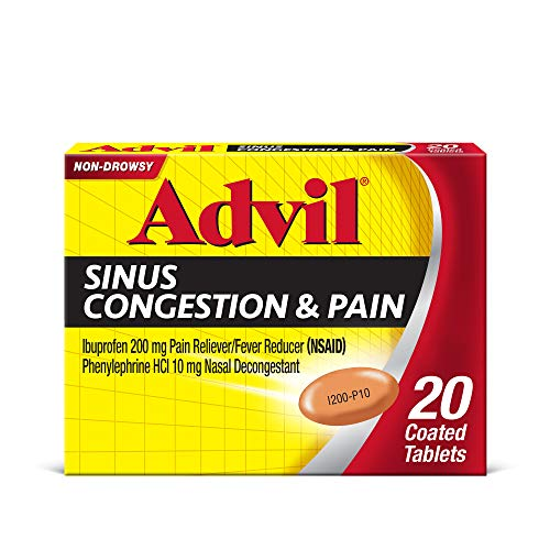 Advil Sinus Congestion and Pain, Sinus Relief Medicine, Pain Reliever and Fever Reducer with Ibuprofen and Phenylephrine HCl - 20 Coated Tablets