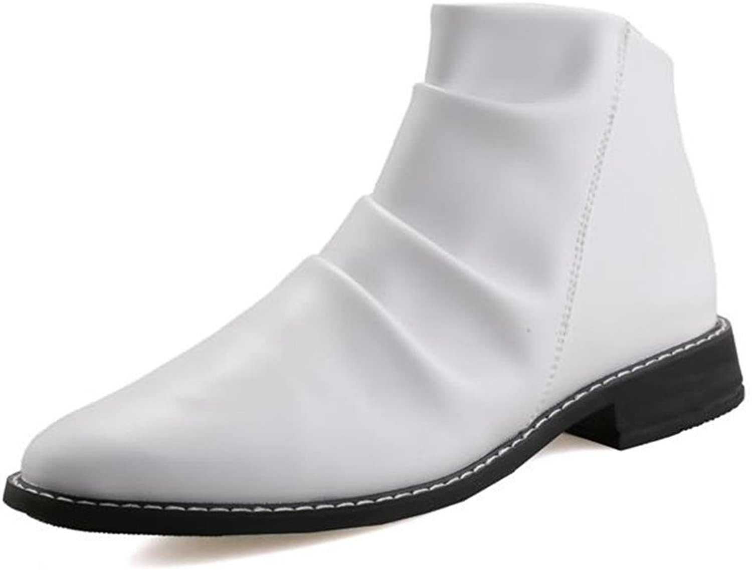 Tooling shoes Martin Boots Men's Stylish comfortable Ankle Boots Round Toe Block Heel Pull On Slouch Vamp Oxfords shoes Military High-tops Boots (color   White, Size   7.5 UK)