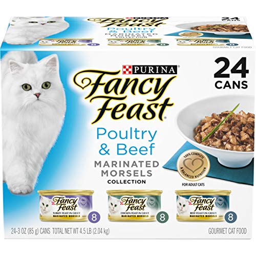 Purina Fancy Feast Gravy Wet Cat Food Variety Pack, Poultry & Beef Marinated Morsels Collection - (24) 3 oz. Cans