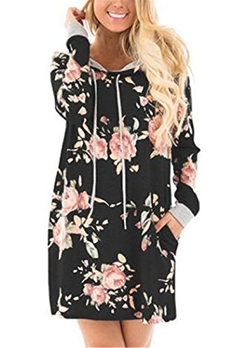 Kerlana Damen Locker Casual Bluse mit Blumenprint Sweatshirts Kapuzenpullover Klassic Blusenshirt Loose Kapuzenpullover Übergangs Jacke