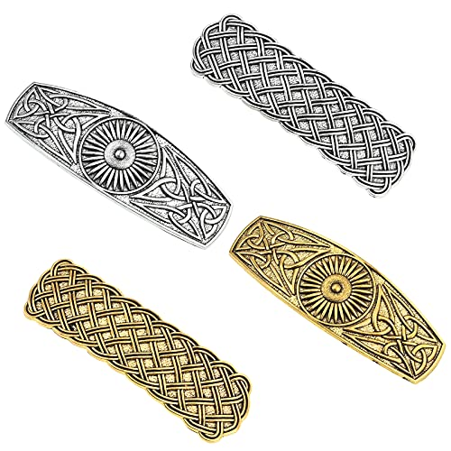 4 PCS Large Celtic Hair Clips Fashion Vintage Rectangle Barrettes, Hand Crafted Metal Barrettes, Spring Barrettes Hair Accessories, French Exquisite Hair Clips for Ladies Women(Gold and Silver)