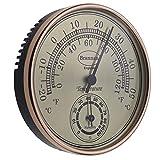 Brannan - Termometro igrometro con quadrante dorato, per giardino, serra, casa, ufficio, misura la temperatura e l'umidita'