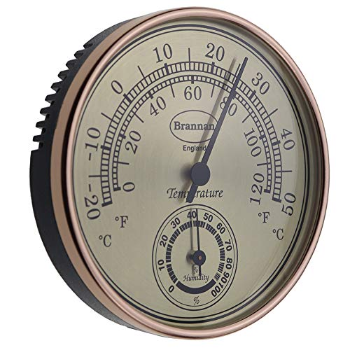 Brannan Thermometer Hygrometer Gilt Dial Garden Greenhouse Home Office - Measures Temperature and Humididty