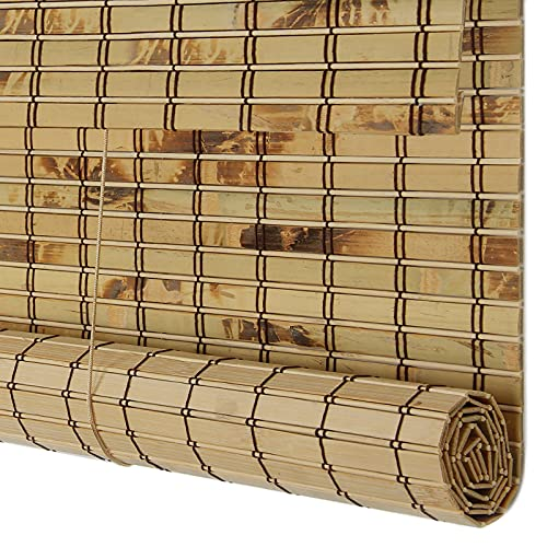Natural Bamboo Curtain - Louver Window Roller Bamboo Roller Blinds Natural, Outdoor Bamboo Shades, Retro Decorative Curtains, Ceiling Or Wall Installation, Waterproof Sun Shade for Kitchen (32 X 53 I