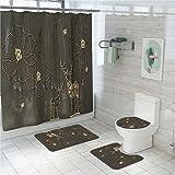 Set 1 baño Cortina de Ducha 2 baño Antideslizante de la Manta y 1 WC Tapa, Jane Pluma Ciervos té Fresco Color es Suave y Resistente al Agua de Secado rápido, Cocina