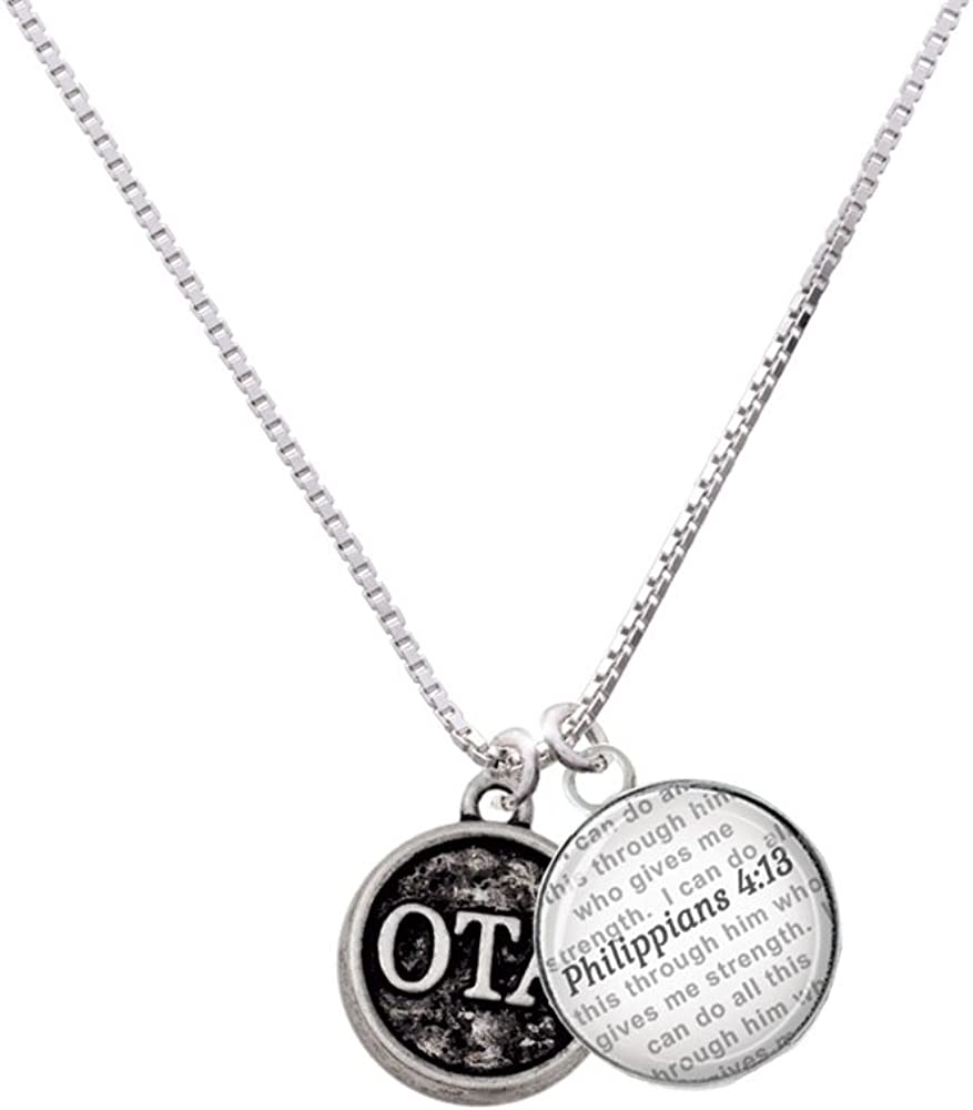 Delight Jewelry Silvertone Occupational Therapy Caduceus Seal Bible Verse Philippians 4:13 Glass Dome Necklace 18+2
