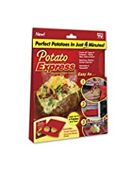 Perfect Potatoes in just 4 minutes Cooks all types of potatoes - white, red, yams and more Cooks Up to 4 potatoes at a time Washable and reusable Also use for corn on the cob, day-old bread, tortillas and more
