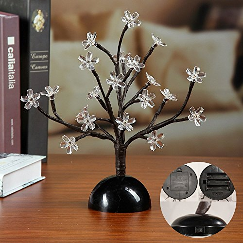 Lightshare 12Inch Cherry Blossom Bonsai Light, 20 LEDs, Warm Light, Battery Powered for Home and Christmas Decoration