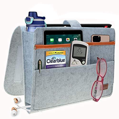SANN - Organizer da Comodino con Chiusura in Velcro per riporre Libri, Tablet, Telefono, Occhiali e Penne