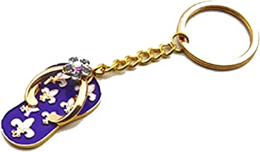 Navy Blue Enamel Flip Flop Fleur De LIS Key Chain is Embellished with Crystal Rhinestones for a French Woman or New Orleans Native