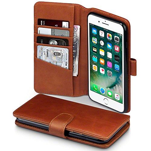TERRAPIN iPhone 8 Plus/iPhone 7 Plus Cover, Vera Pelle della Cassa del Raccoglitore per iPhone 8 Plus/iPhone 7 Plus Custodia Pelle, Colore: Cognac