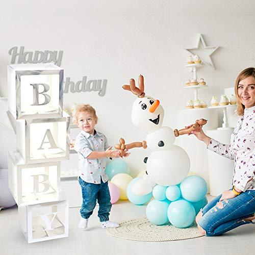 ALITREND Cajas de fiesta de baby shower, 4 unidades, cajas de globos transparentes, decoración de bloques de bebé, con letra para revelar el género, fiesta de niños y niñas (plata)