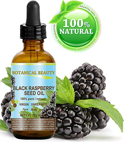 "BLACK RASPBERRY SEED OIL. 100% Pure / Natural / Undiluted / Virgin / Unrefined / Cold Pressed Carrier oil. 1 Fl.oz.- 30 ml. For Skin, Hair, Lip and Nail Care. ""One of the highest antioxidants, rich in vitamin A and E, Omega 3, 6 and 9 Essential Fatty Acids""."
