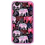 Hapdey Funda Rosa para [ ZTE Blade A512 ] diseño [ Patrón Brillante de Elefantes Rosados y Rojos ] Carcasa Silicona Flexible TPU