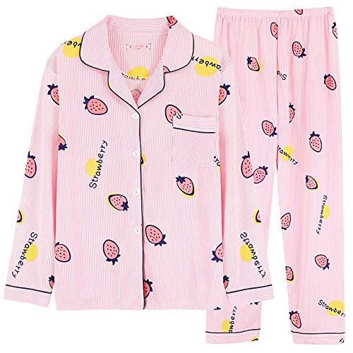 Chickwin Rosado Pijama de Manga Larga con Botones para Mujer Ropa de Dormir Invierno Dos Piezas -...