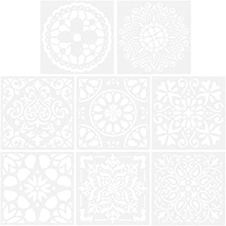 Rosenice 8pcs Mandala Painting Stencil Reusable Hollow out Templates for DIY Art Projects Wood Glass Fabric Metal Walls Rock