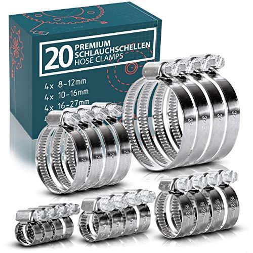 Schlauchschellen Set | 20x Stück aus Edelstahl | für Pool Waschmaschine Auto Kfz | Schlauchklemme Schlauchbinder Schlauch Rohr Schelle Schraubschelle Metallschelle