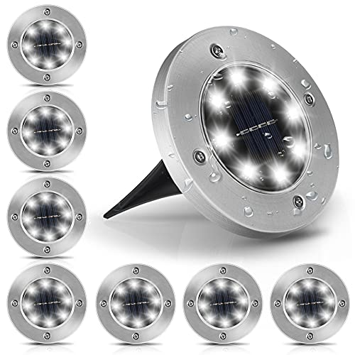 8 Pezzi Luce Sepolta Solare Giardino, Lampade Solari da Pavimento, LED Luci da Terra Solari da...