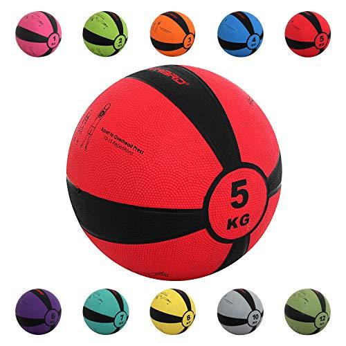 TrainHard Medizinball 1-12 kg, Gummi Gewichtsball in 10 Farbig, Professionelle Gymnastikball für Krafttraining, Crossfit und Fitness (5 KG - Rot)