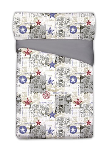 Style Javier Larrainzar Chicago dekbedovertrek, katoen/polyester, grijs, 190 x 90 x 3 cm