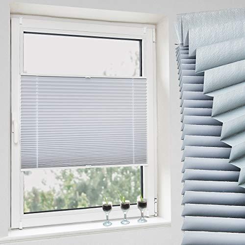 Grandekor Verdunklungsplissee Jalousie Plissee Klemmfix ohne Bohren Plisseerollo (100 X 80 cm weiß) Faltrollo Sonnenschutz und Sichtschutz für Fenster & Tür