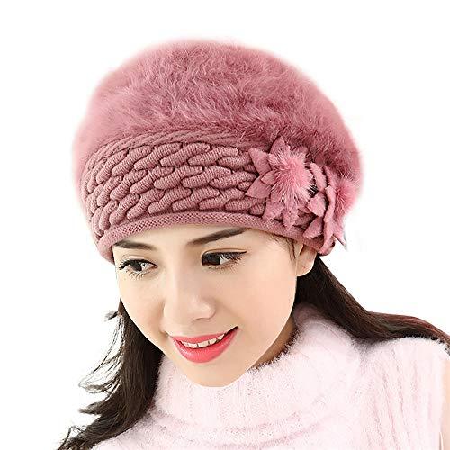 QGcute Mode Femmes Bonnets en Plein air Casquettes Hiver Chaud Tricot Doux au Crochet Chapeaux Sombrero-E_60 à 64 cm