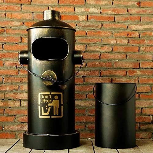 LXZ#Homegift Mülleimer Industrielle Retro Hydrant Mülleimer Eisenstange Ornament Große Mülleimer, Ø42cm H88cm (Farbe : Metallic)