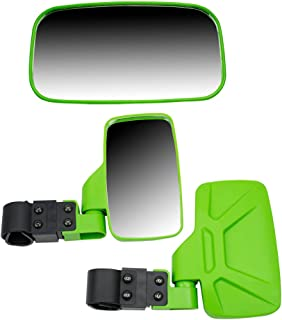 NICHE Green Breakaway Offroad Rear and Side View Mirrors Combo Side x Side UTV with 1.75 Inch Roll Cage Bar