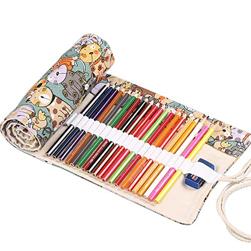 NALCY Pennenetui van canvas, etui, potlood, wikkelcase, potloodhouder, oproltas, draagbaar, gekleurd potlood, etui voor…