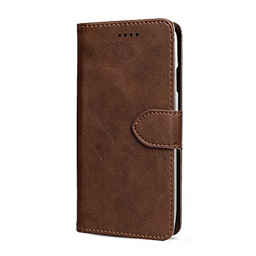 JIUNINE Hülle für Xiaomi Mi Note 10 Lite, Handyhülle PU Leder Flip Hülle mit [Kartenfach] [Magnetverschluss] Schutzhülle Tasche Cover Lederhülle für Xiaomi Mi Note 10 Lite, Braun