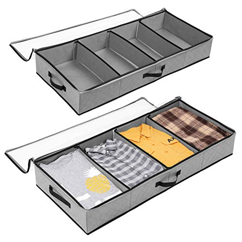 SOLEDI Organizzatore Armadio 2 Pezzi Progettato per Essere Riposto sotto Il Letto e La Parte Superiore dell'Armadio Scatole per Armadio Perorganizzate Trapunte, Vestiti e Decorazioni Vacanza (Grigio)