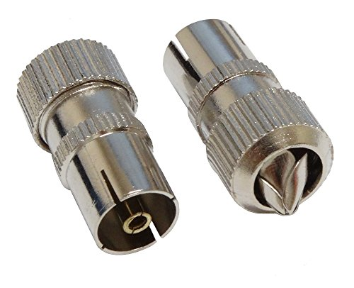 Aerzetix C2758 coaxiale kabel, tv-antenne, metaal, vrouwelijk, 2 stuks