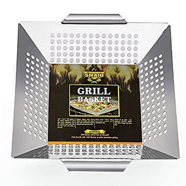 SMAID Professional-Grade Stainless Steel Vegetable Grill Basket