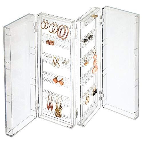 mDesign Opvouwbare oorbelhouder voor de commode, was- of make-uptafel, opvouwbare doos voor oorbellen, stekers, creolen, compacte sieradenbewaardoos van kunststof, doorzichtig