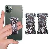 [2PC] WUOJI Finger Strap Phone Holder - Ultra Thin Anti-Slip Universal Cell Phone Grips Band Holder for Back of Phone (White Leoard Granin)