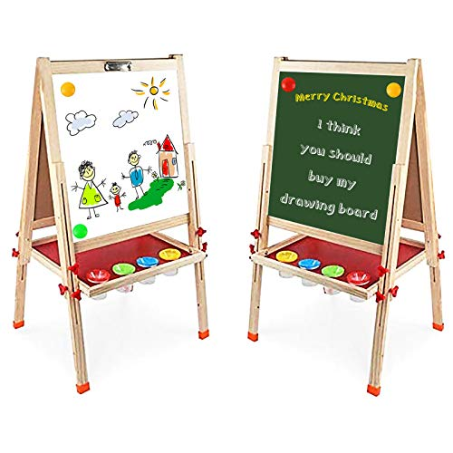 Arkmiido Kids Easel Double-Sided Whiteboard & Chalkboard Standing Easel with Bonus Magnetics,...