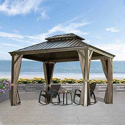 Outdoor Hardtop Gazebo (2021 New) - Galvanized Steel Double Roof,Patio Gazebo Canopy with Privacy Curtains and Net,Permanent Aluminum Frame (Calaro 10'x12') by domi outdoor living