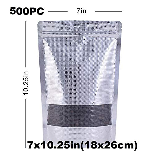 Great Deal! Durable and Wonderful 500PC- 7x10.25in(18x26cm) Stand up Zip Lock Bag Aluminum Embossed ...