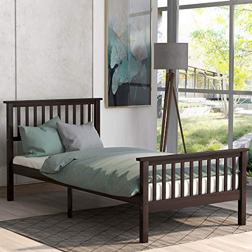 Wood Bed Frame Twin Size,JULYFOX 300lb Heavy Duty Platform Bed with Slatted Headboard Footboard No Box Spring Need Space Saving Espresso