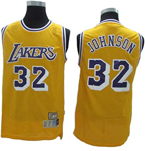 Maglia da Basket NBA # 32 Magic Johnson Lakers Traspirante Resistente all'Usura Edizione Fan T-Shirt Sportiva Uniforme da Basket,M(175cm/65~75kg)