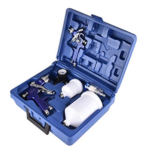 Mini Car Repair Spray Gun Set, HVLP Air Spray Gun with 1.0MM & 1.4MM Nozzle, Primer Gravity Feed Paint (30-80PSI)