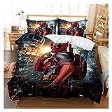YONGLI Marvel Deadpool 3D Bedding Set Bed Duvet Cover Set Comforter Bedding Sets Bedclothes Bed Linen (NO Sheet) Bedding Set Luxury (Color : 2, Size : US King)