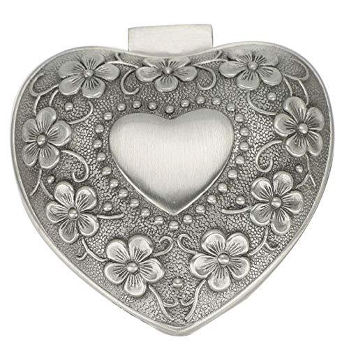 zHONgRT Caja de Almacenamiento de Metal Vintage, decoración en Relieve en Forma de corazón, Soporte de exhibición de joyería de Bolsillo, Recuerdo de Boda