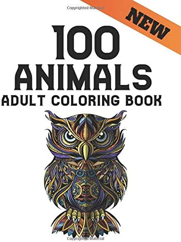Animals Adult Coloring Book One Sided 100 Animal Designs Coloring Book Stress Relieving Lions product image