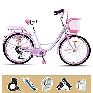 Comfort Bikes GHH 24″ Women's Bicycle Lightweight 6 Speed Ladies bike Pink With lock Basket Flashlight, Inflator, installation tool