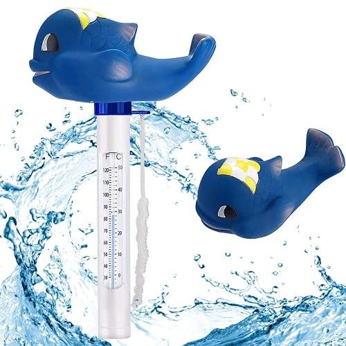 Bearbro Thermomètre pour piscine, Thermomètre Flottant de Piscine,avec Une Corde, Résistant aux Chocs pour Tous Les & piscines, Spas, Hot Tubs, Aquariums & Les Étangs du Poisson (requin)