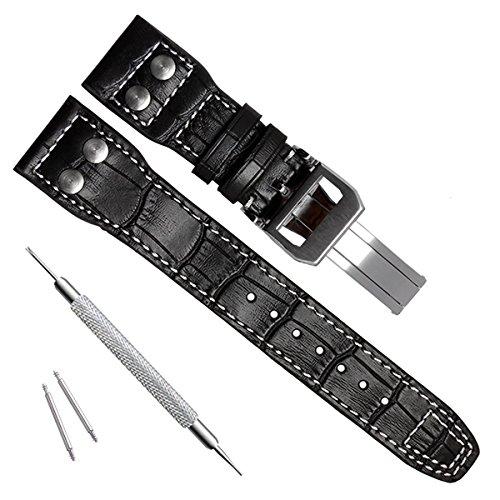Cinturino in vera pelle da 22 mm, adatto per orologi IWC Pilot's (fibbia argentata/nero)