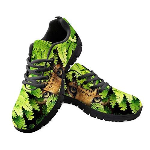 Tênis feminino PinUp Angel confortável, leve, respirável, de malha, para caminhada, corrida, Green Leaves Leopard Eye, 13